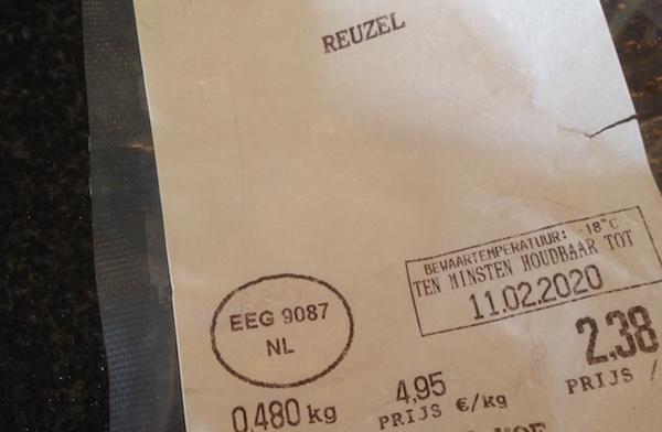 etiket van reuzel. Hier kost reuzel 4,95 per kilo