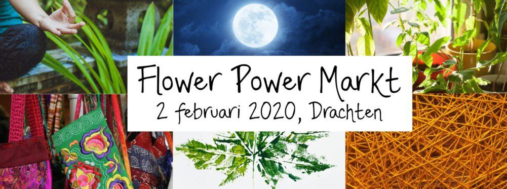 banner flower power markt groene kalender