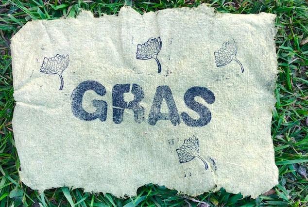 graspapier met gras gestempeld