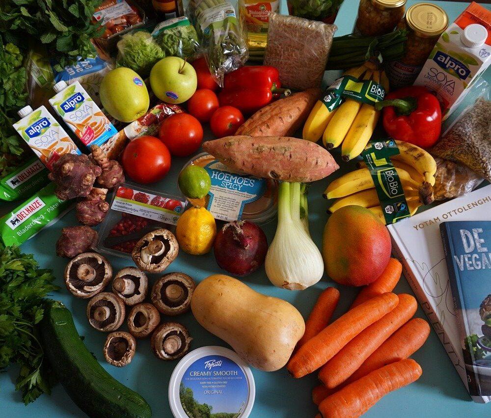 vegetarische producten groente soja en vegetarisch kookboek